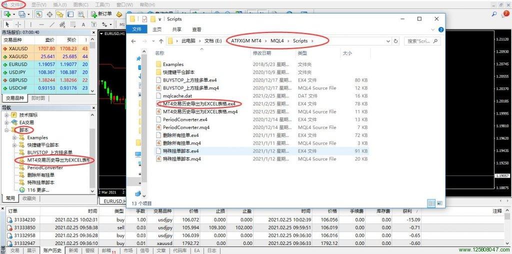 MT4交易历史导出为EXCEL表格的脚本安装及使用说明-峰汇在线
